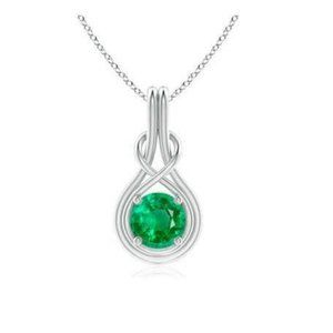 4 Ct Prong Set Green Emerald Pendant With Chain 14